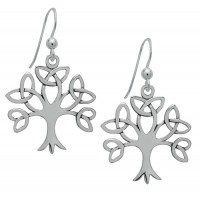Symbology Earrings - Silver Trinity Tree of Life Dangle Sterling Silver