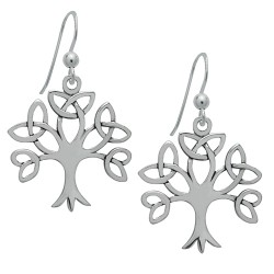 Trinity Tree of Life Dangle Sterling Silver Earrings by Symbology