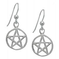 Symbology Earrings - Pentagram Dangle Sterling Silver