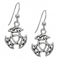 Symbology Earrings - Open Triad Hanging Dangle Sterling Silver