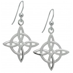 Symbology Earrings - Celtic Four Point Knot / Northern Knot for Good Luck in Sterling Silver