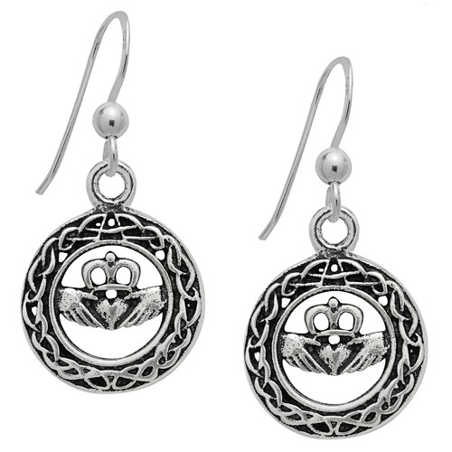 Claddagh Earrings for Love Sterling Silver by Symbology