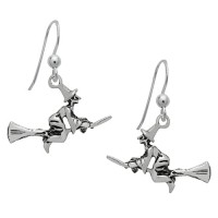 Symbology Earrings - Flying Witch on Broomstick Dangle Sterling Silver