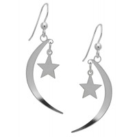 Symbology Earrings - Crescent Moon & Star Dangle Sterling Silver