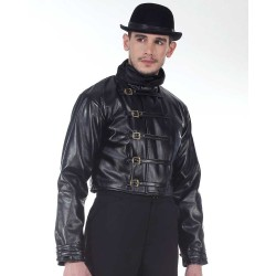 Steampunk Leather Mens Short Jacket