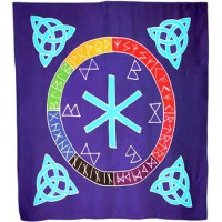 "Altar Cloth - 36"" x 36"" Rune Mother & Triquetras in Aqua on Purple"