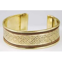 Bracelet - Copper & Brass Celtic Knot Engraved Cuff