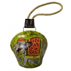 """Bell - Elephant 8"""" painted bell with rope"""