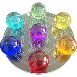 7 Chakra Flower of Life Crystal Ball Set