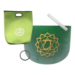 "Tibetan Singing Bowl - 8"" Green Crystal Heart Chakra with Gold Detail"