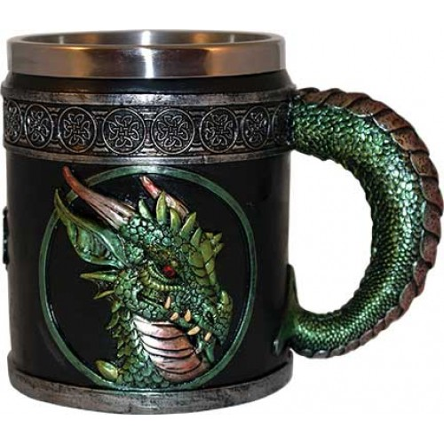 "Dragon Mug 4 1/4"" Green"