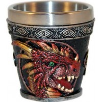 Shot Glass Pair 2 1/4' Red Dragon