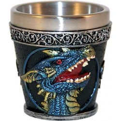 "Shot Glass Pair 2 1/4"" Blue Dragon"