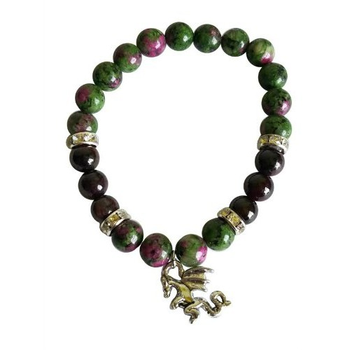 Gemstone Bracelet - Ruby Zoisite / Garnet with Dragon