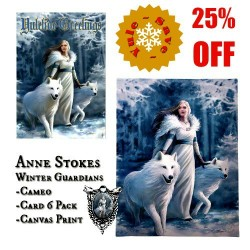Anne Stokes Gift Trio - Winter Guardians Canvas Art Print, Cameo & Cards