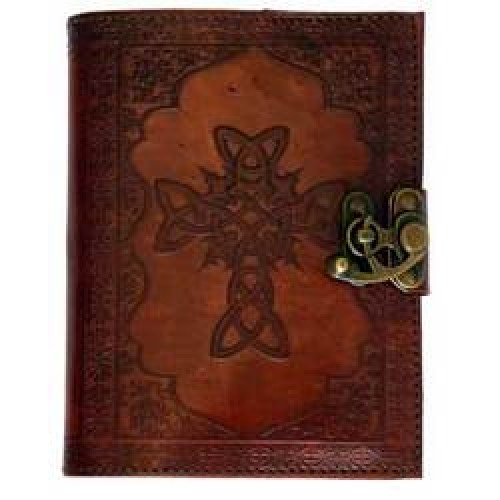 Celtic Cross leather blank book w/ latch