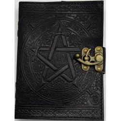 "Interlocking Pentagram Leather Journal w/ Latch 5"" x 7"" Black"