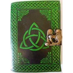 Triquetra Leather Blank Book w/ latch in black/ green