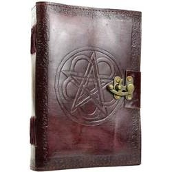 "Pentagram Leather Blank Book w/ latch 7"" x 10"""