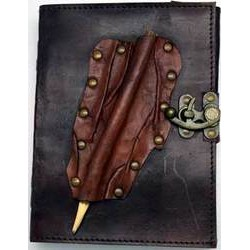 "Leather Blank Book w/ ""Feather"" Pencil Holder & Latch Closure 6"" x 8"""