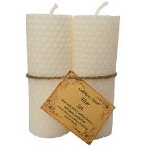 Lailokens Awen Altar Candle Set White 4 1/4""