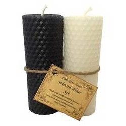 Lailokens Awen Black & White Wiccan Altar Candle Set  4 1/4""