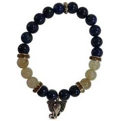 Lapis & Rutilated Quartz 8mm Bracelet w/ Ganesha