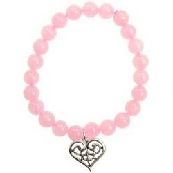 Rose Quartz Love Scroll Bracelet w/ Silver  Heart