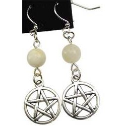Moonstone Pentagram Earrings