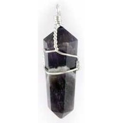 Wire Wrapped Amethyst Double Terminated Point Pendant