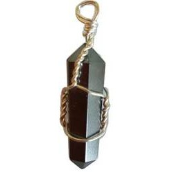 Wire Wrapped Hematite Double Terminated Point Pendant