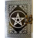 Pentagram Leather Blank Book w/ latch in black/ silver
