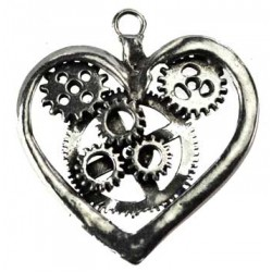 Steampunk Pewter Heart Pendant