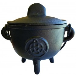 "Cauldron - 5"" Cast Iron Cauldron w/ Lid Triquetra"